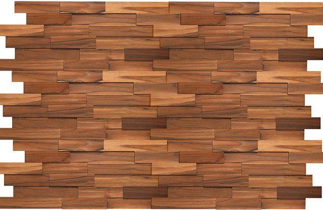 Recubrimiento madera mosaico teca muro dise o fachada for Mosaico madera pared