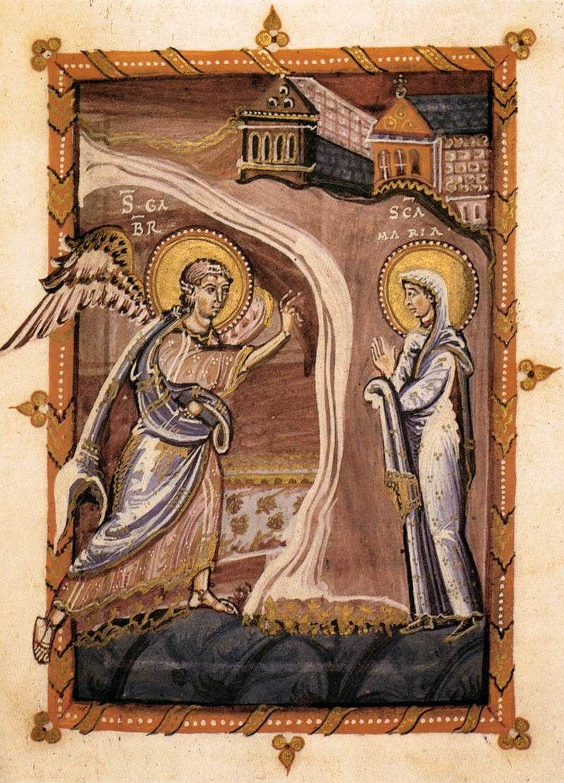 The Annunciation Hitda Codex c. 1020 Illumination Hessische Landesbibliothek, Darmstadt