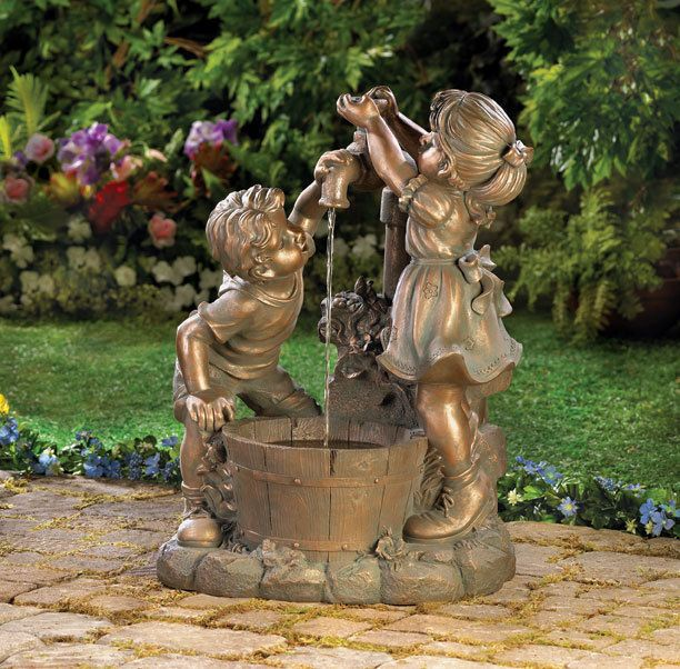 Outdoor Water Fountain Children At Faucet Child Statue 400 x 300