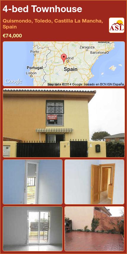 4-bed Townhouse in Quismondo, Toledo, Castilla La Mancha, Spain ►€74,000 #PropertyForSaleInSpain