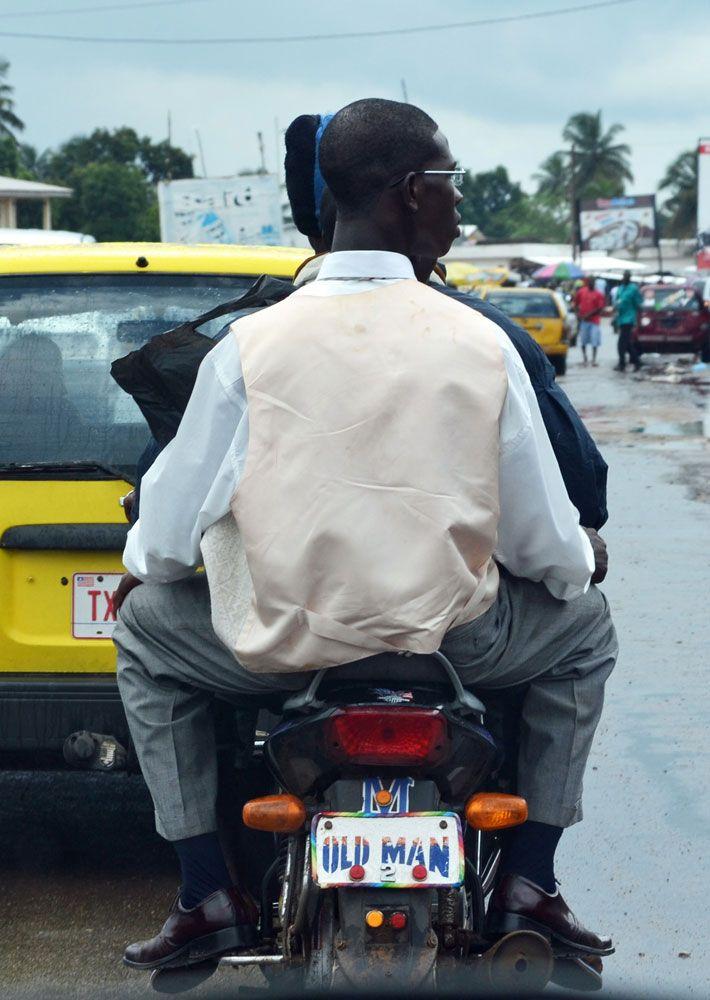 Monrovia, Liberia; Sometimes you'd see 3 people on a bike :)