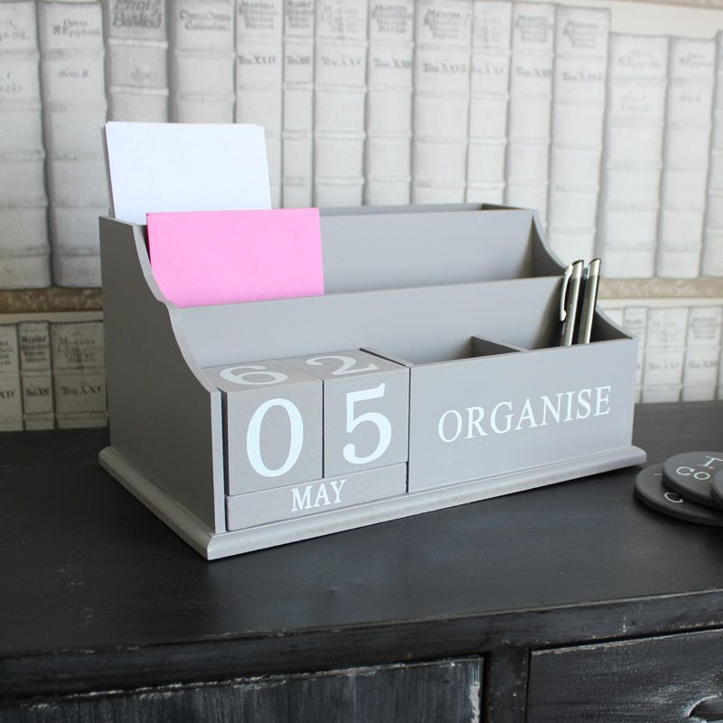 Distressed Desktop Organiser with changable date and letter rack ...