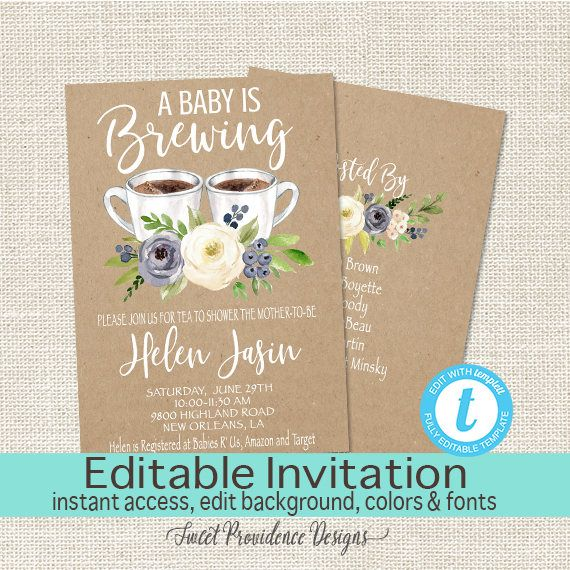 baby is brewing shower invitation coffee tea baby boy invite