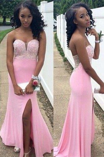 pink prom dresses Mermaid Prom Dress Beadings Prom Dress 2017 Front Split Sweep Train