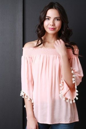 Tassel Angel Sleeves Off Shoulder Peasant Top