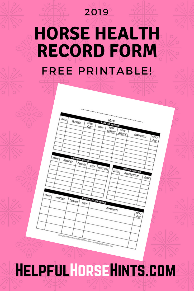 Horse Health Record Form FREE Printable (.PDF) (With