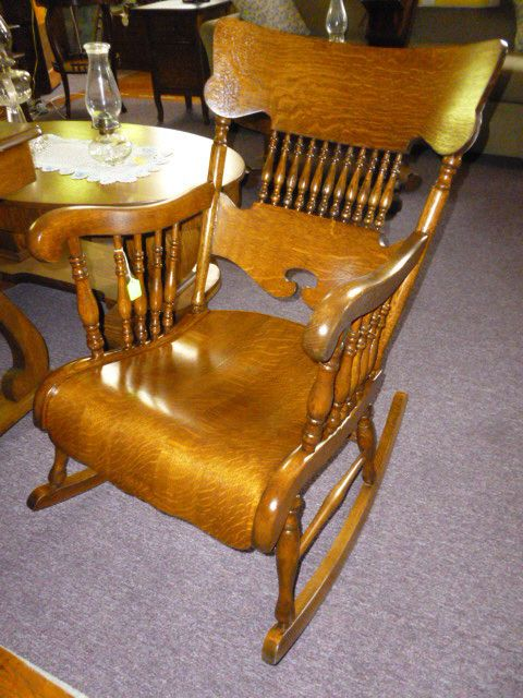 Dark Wood Tone Oak American Antique Chairs | eBay - Antique Oak Rocking Chair W/ Arms Tiger Quarter Sawn Oak Refinished
