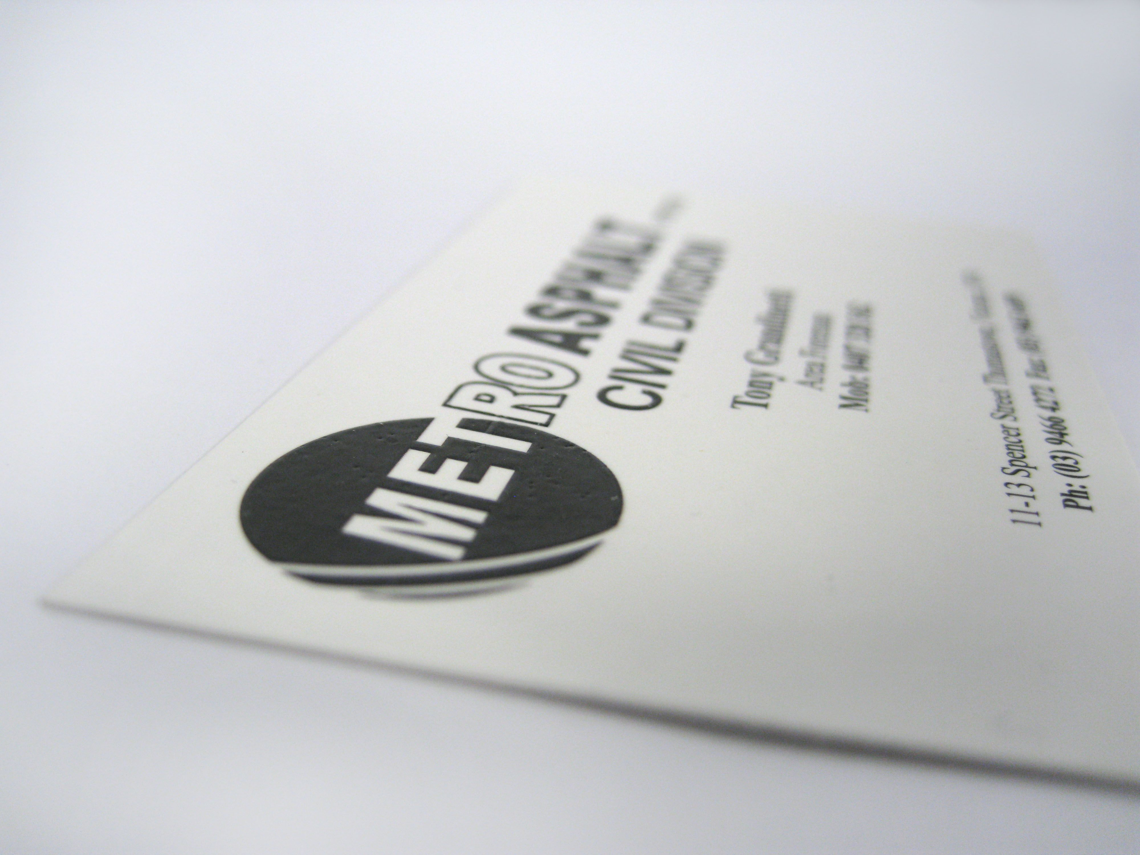 Raised Print Business Cards for Metro Urban Management, thank you ...