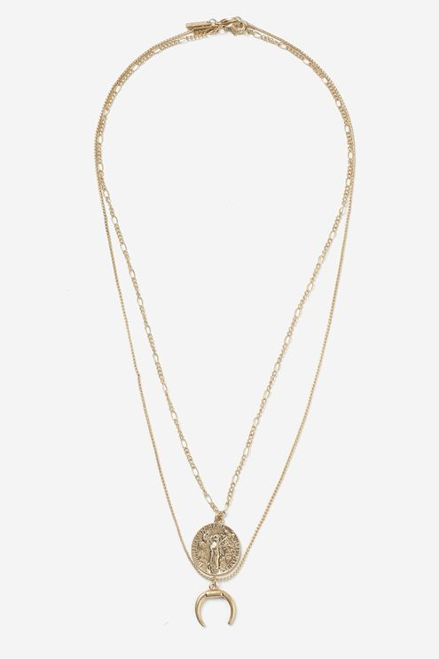 13118dd1bec9 coin And Horn Two Row Necklace   Horn, Coins and Topshop