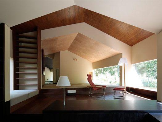 Rooms that follow the landscape by On Design    stuk til loft   materialesam.sætning  niveauforskelle