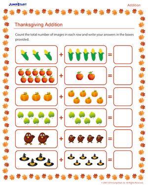 thanksgiving addition thanksgiving worksheet for kids kindergarten pinterest addition. Black Bedroom Furniture Sets. Home Design Ideas