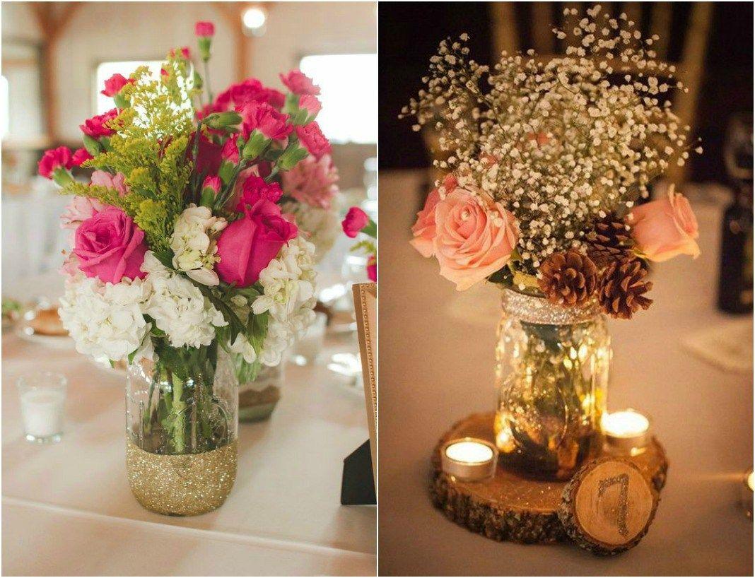 wedding flower centerpieces in mason jars