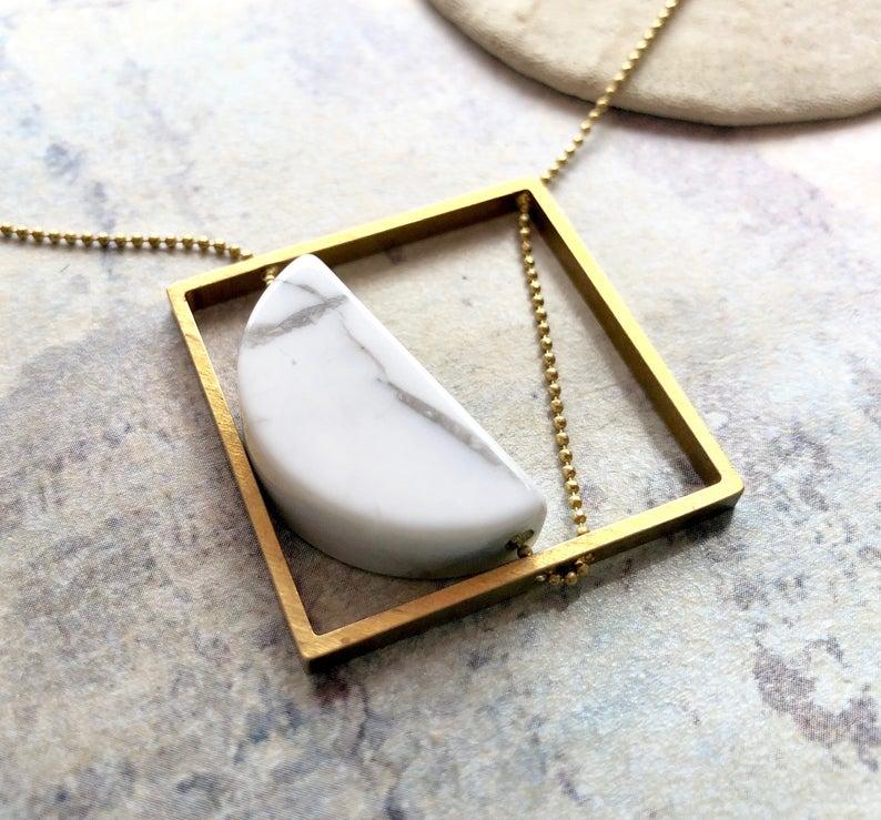 Marble Half Moon Drop Necklace