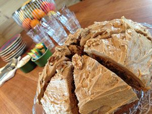 Coffee and walnut cake at tea time