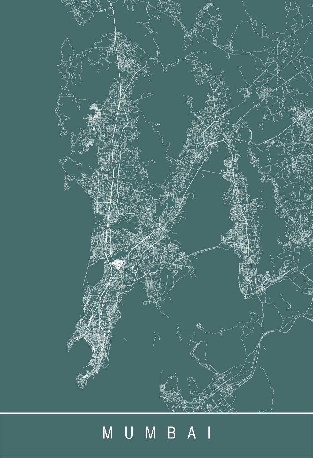 Mumbai Map Poster Modern City Print Art Customizable Etsy