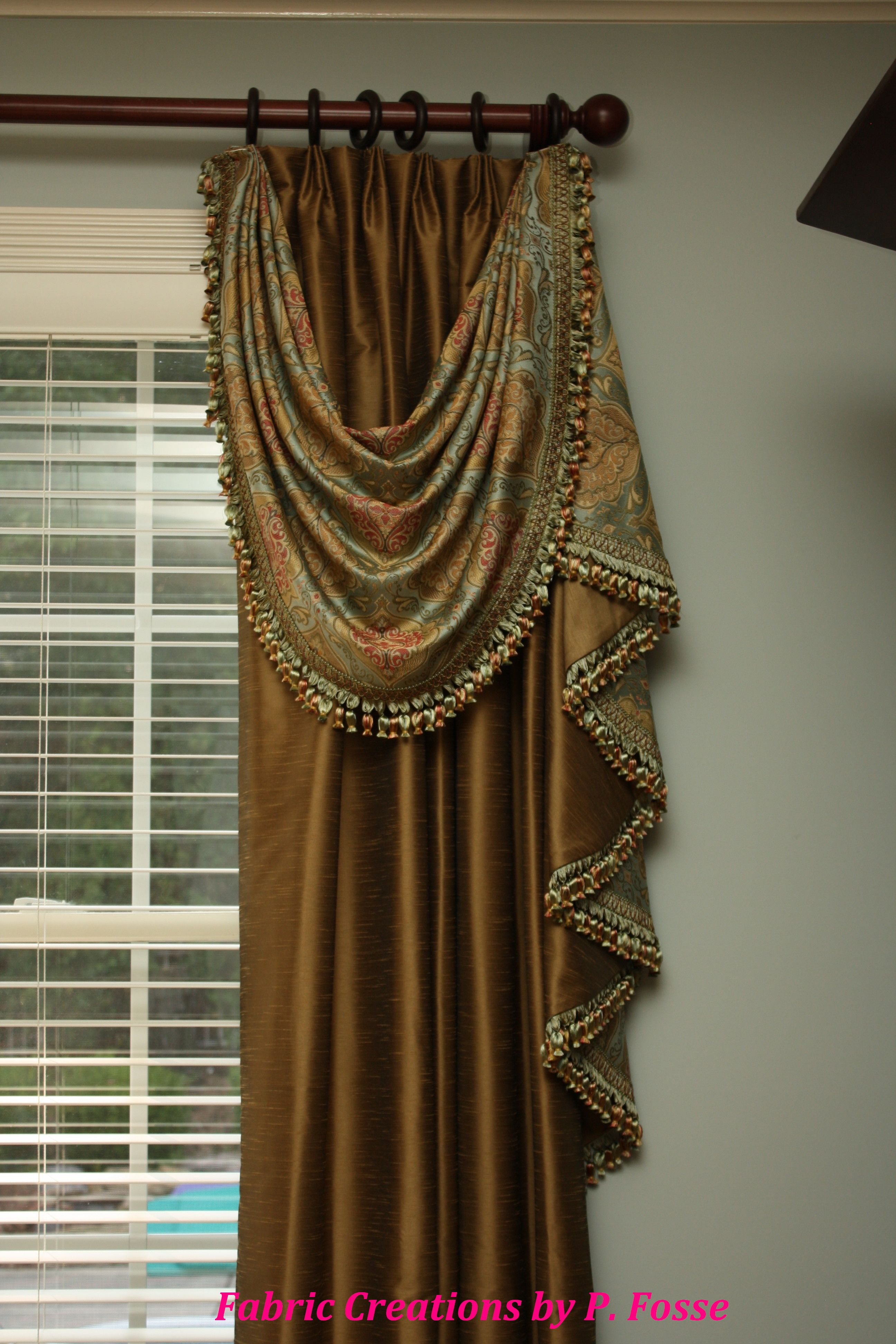 drapery swag and jabot over euro pleated panels. Black Bedroom Furniture Sets. Home Design Ideas