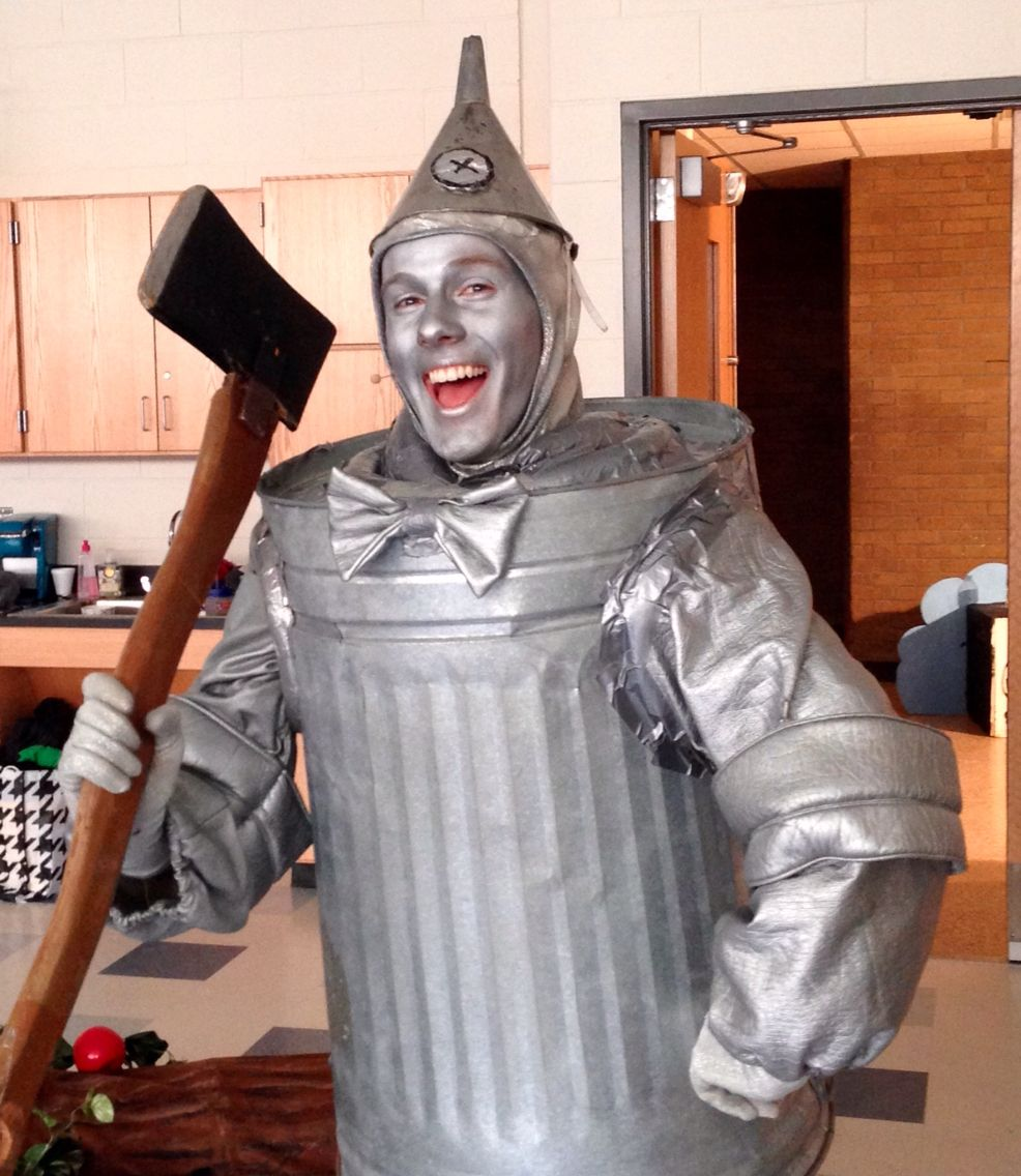 Tin man makeup for BHS's The Wizard of Oz. | Tin man costumes. Halloween costumes for family. Family costumes