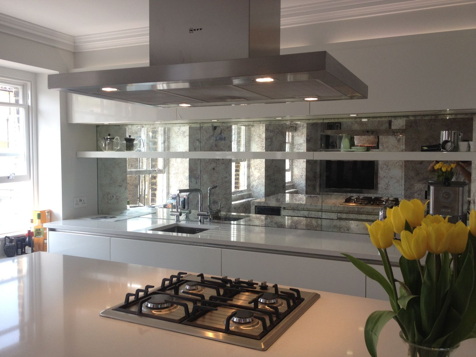 kitchen mirrors island with cabinets mirror splashback acrylic tiles project in 2019