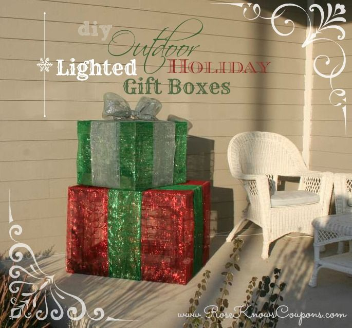 diy outdoor lighted gift boxes we have a very large porch over 200 sq ft and finding outdoor christmas decorations to fill it up is nearly impossible on a