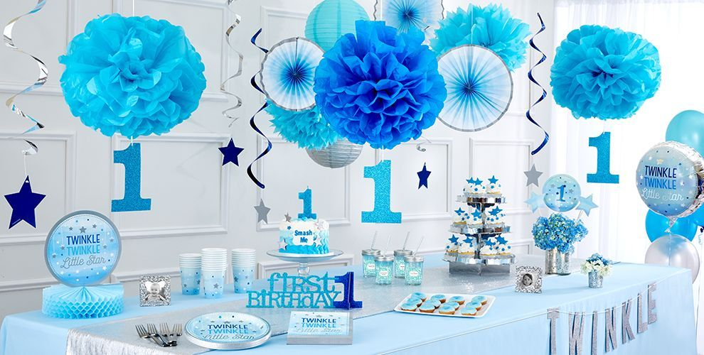 Blue Twinkle Little Star Gender Neutral 1st Birthday Party Supplies