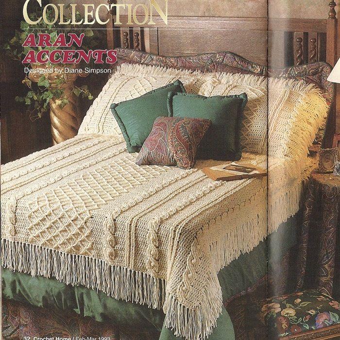 Aran Coverlet, Pillow Shams Crochet Pattern Afghan Blanket Throw ...