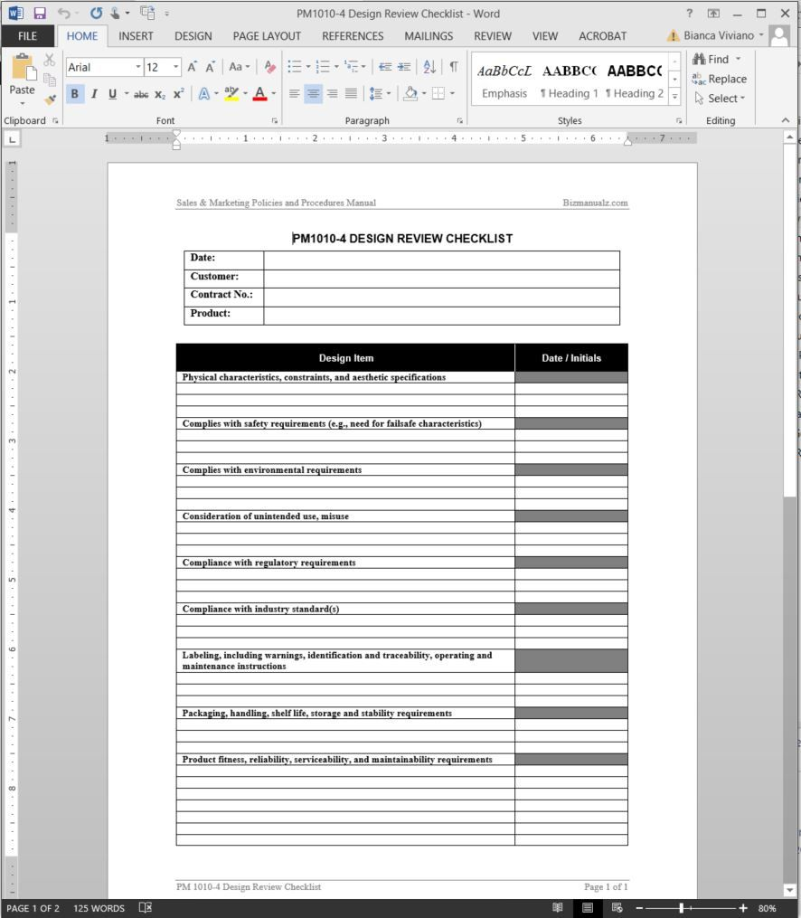 Product Design Review Checklist Template Pm10104