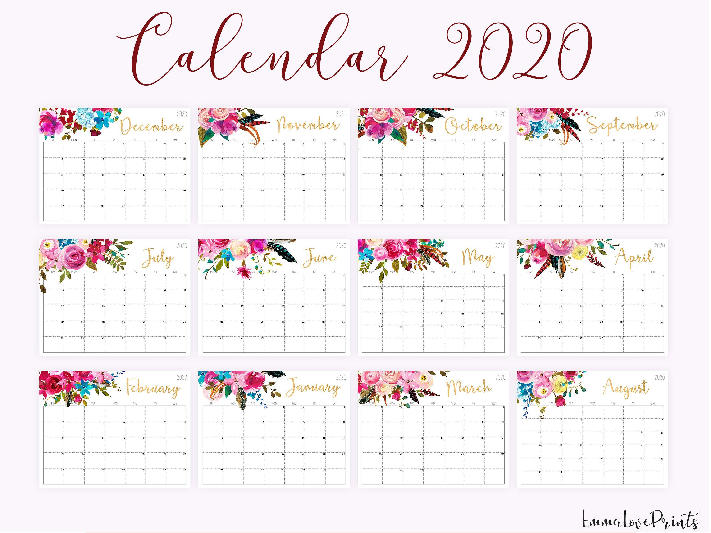 Large Wall Calendar 2020 Wall Calendar Printable Desk Calendar