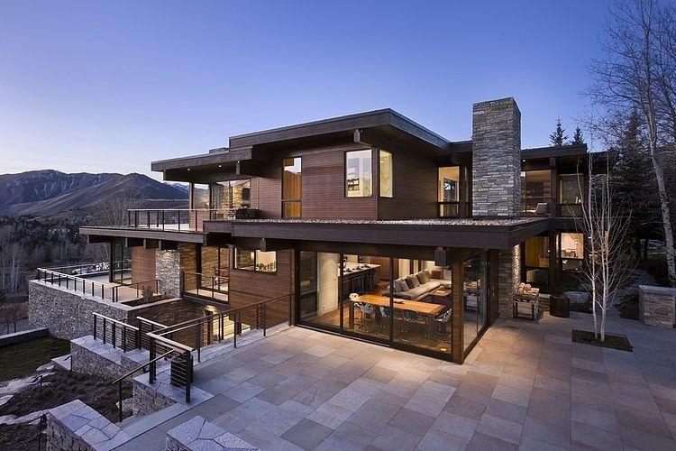 Contemporary Home in Sun Valley CEPHE Pinterest Contemporary - maison en bois et en pierre