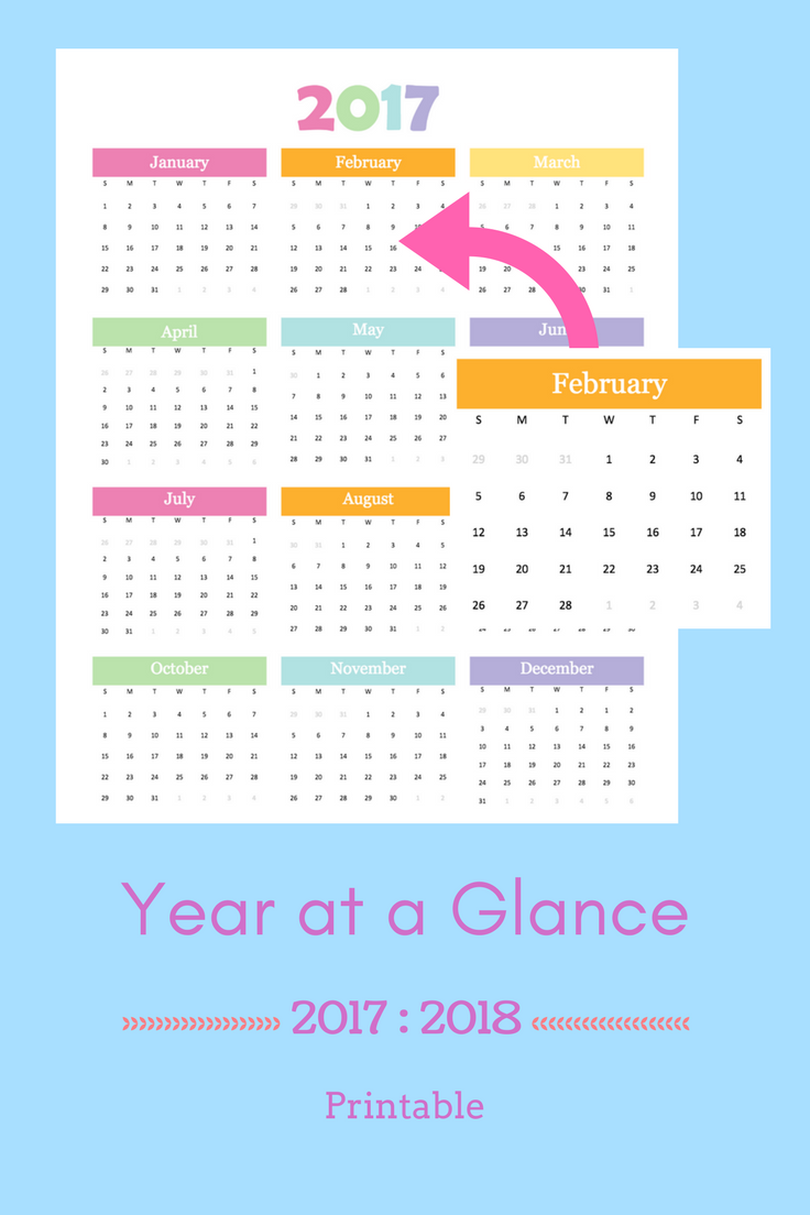 Printable Year At A Glance For 2017 And 2018 A5 Planner Inserts
