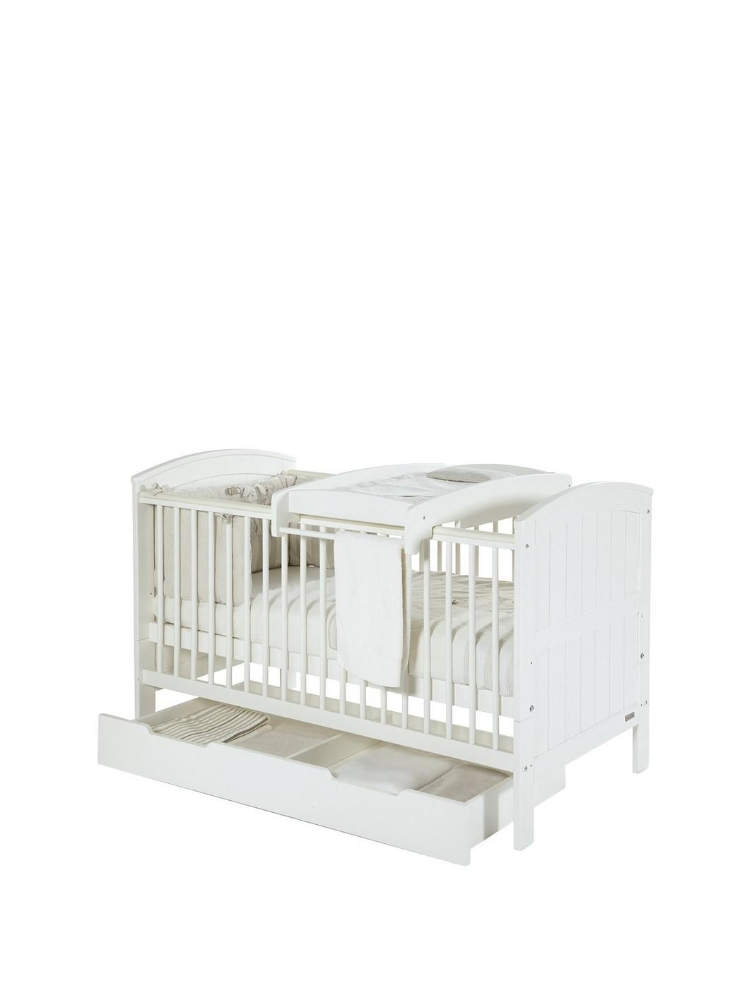Hayworth Cot Bed Under Drawer And Cot Top Changer White