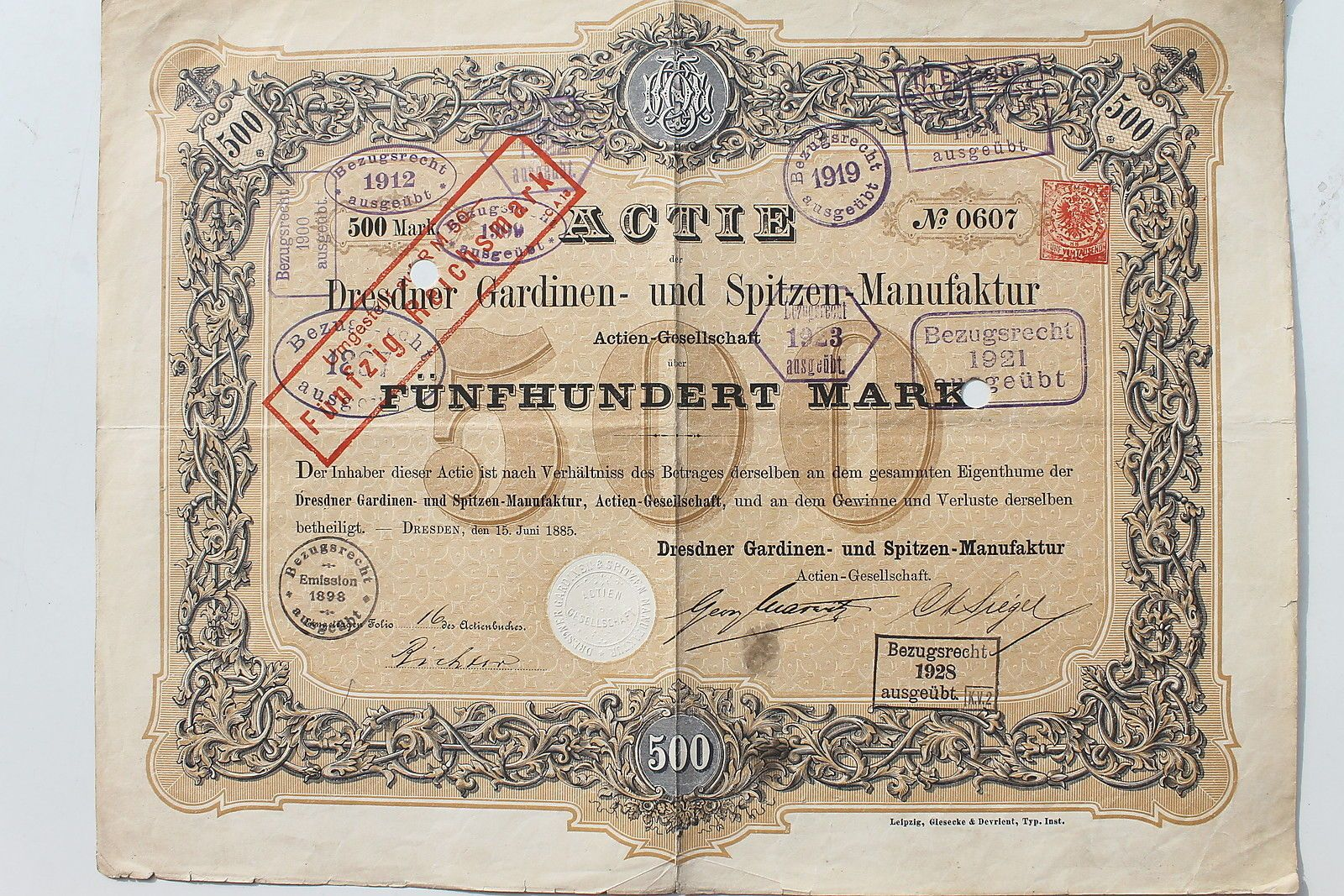 23561 Aktie Dresden Dresdner Gardinen  und Spitzen Manufaktur 500