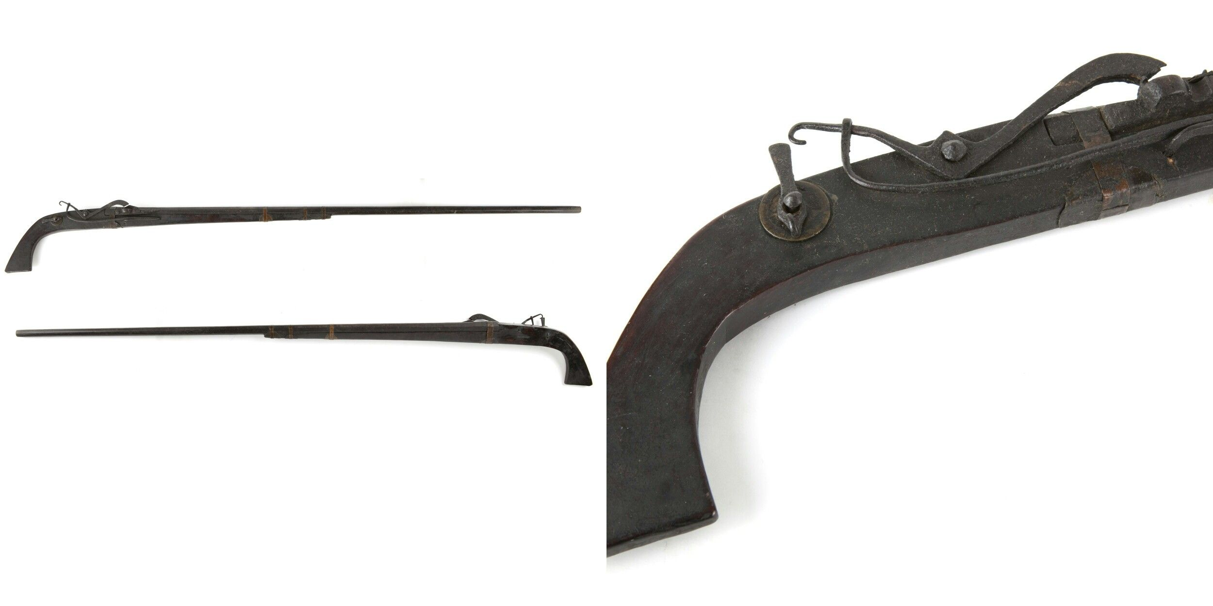 Indonesian Matchlock Musket Wrought Iron Barrel Fastened To Cincin Pita Black Wooden Stock With Copper Rings