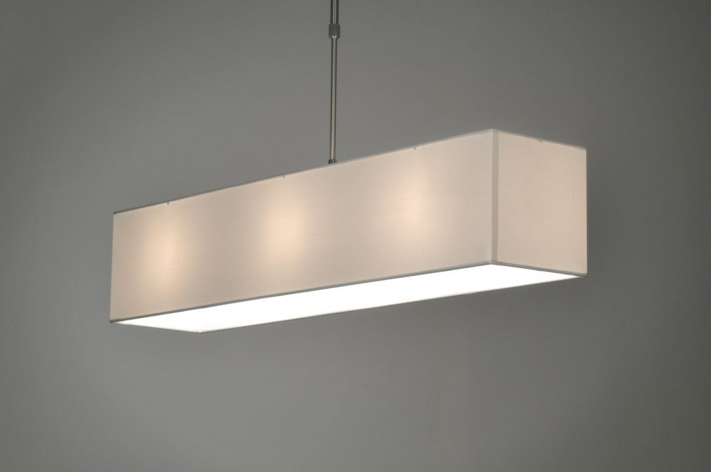 pendelleuchte 71217 modern stahl rostbestaendig stoff weiss rechteckig laenglich. Black Bedroom Furniture Sets. Home Design Ideas