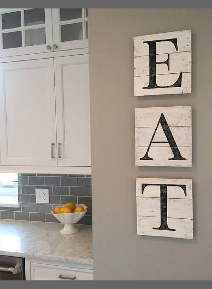 Perfect For Kitchen Or Dining Room! EAT Sign, Wood Pallet, Farmhouse Sign,