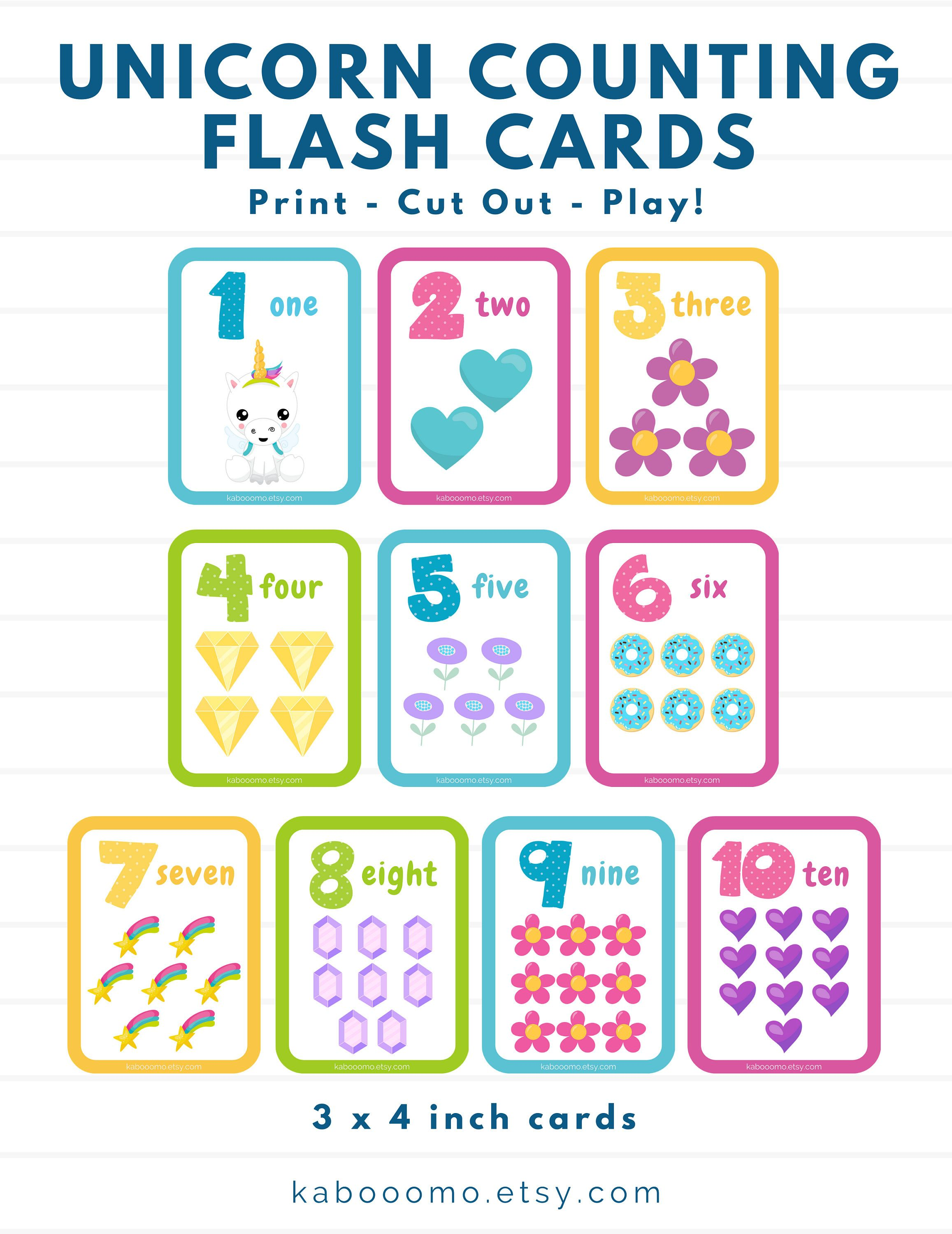 Printable Number Unicorn Counting Flash Cards Cute Kids