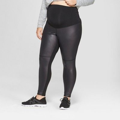b3f0642f0fe Maternity Plus Size Faux Front Leather Active Leggings - Isabel Maternity  by Ingrid   Isabel Black 4X