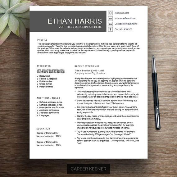 Professional resume template / cv template Chronological resume