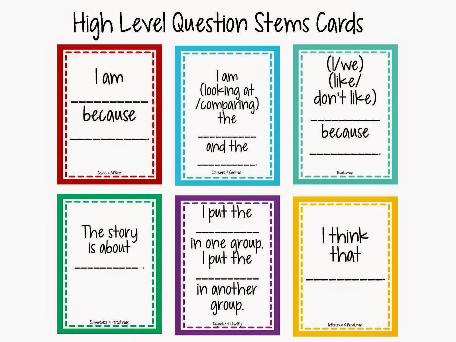 High Level Question Stems Cards Technology Rocks