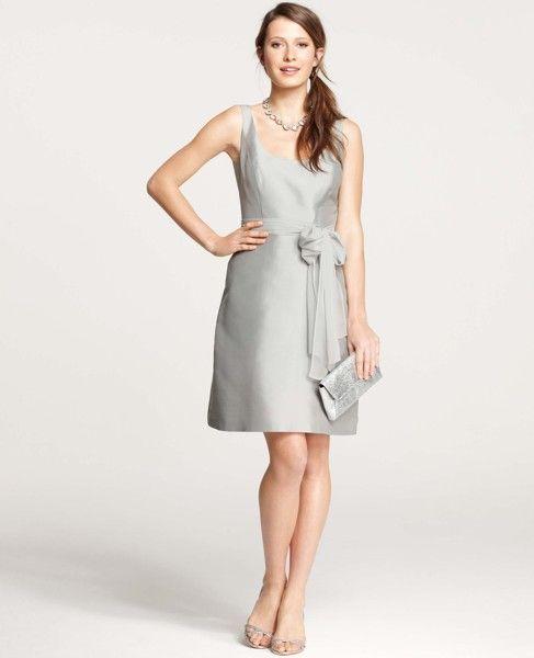 Ann Taylor - AT Bridesmaid Dresses - Silk Dupioni Scoop Neck Dress ...