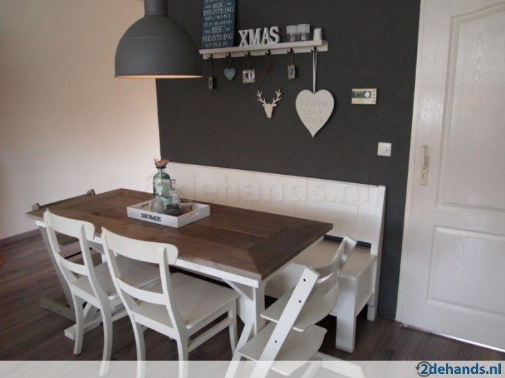 Tafel eettafel landelijk bankje eiken steigerhout queen anne keuken pinterest landelijk - Eettafel en houten eetkamer ...