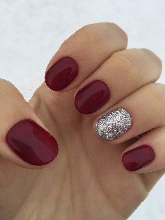 Burgundy Silver Nails Maroon Nails Short Gel Nails Trendy Nails