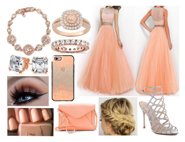 """""""Gown Outfit 13"""" by meranda-joi ❤ liked on Polyvore featuring Schutz, Givenchy, Palm Beach Jewelry, Bling Jewelry, Castello, Casetify, Apt. 9, peach, Silver and rosegold"""