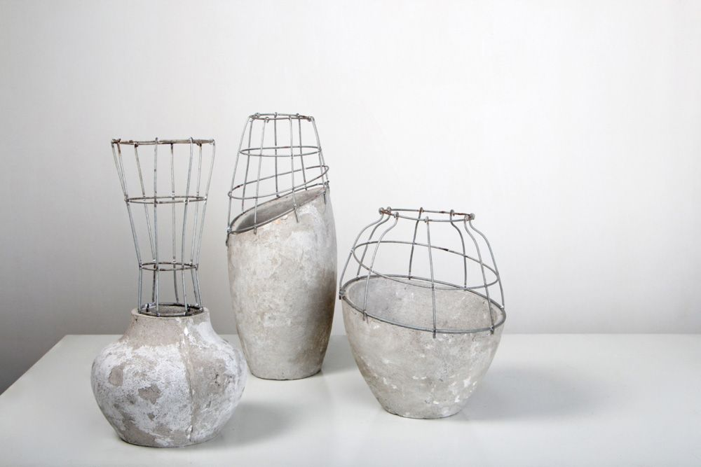 Gregoireabrial Concrete06 Concrete And Steel Vases The Arts
