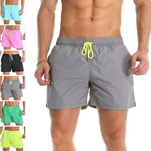 e0e91969ff96 YnimioAOX Men's Trunks Quick Dry Shorts Gym Athletic Bodybuilding with Pockets  Swimming Briefs (Grey, 3XL /US XL)