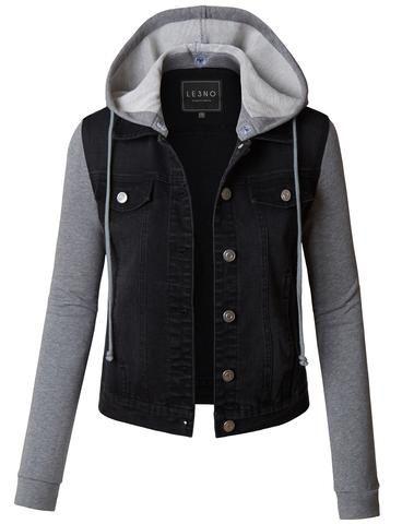 Womens Fashion Clothing Le3no Long Sleeve Denim Jacket Black Denim Jacket Cropped Denim Jacket
