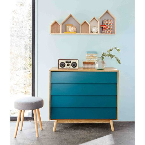 Vintage Petrol Blue 4-Drawer Chest in 2019 | Our home | Vintage ...