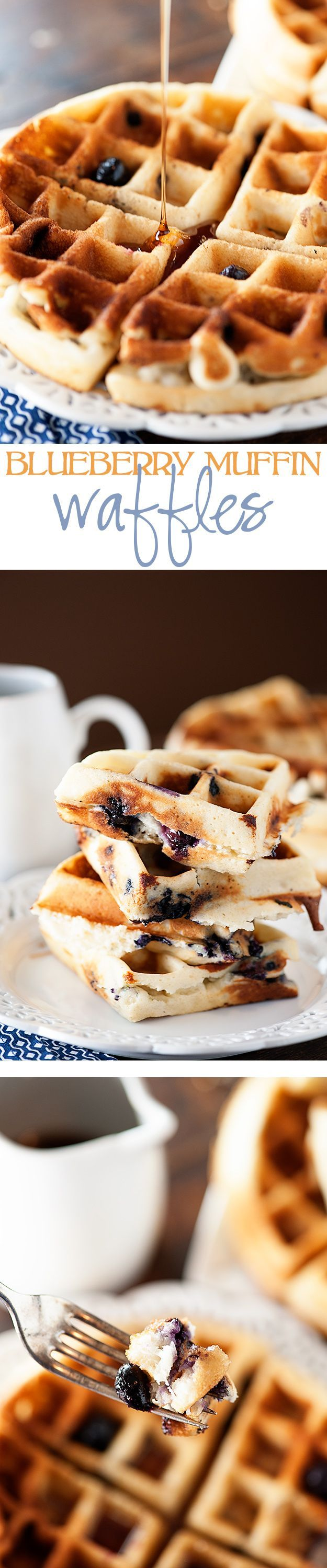 Blueberry Muffin Waffle - Tender blueberry muffins made in a waffle iron and covered in maple syrup!