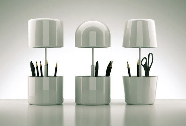 Three-in-one lamp. It's a standard lamp when open, a nigh light when closed and acts as a cubby for your desk supplies
