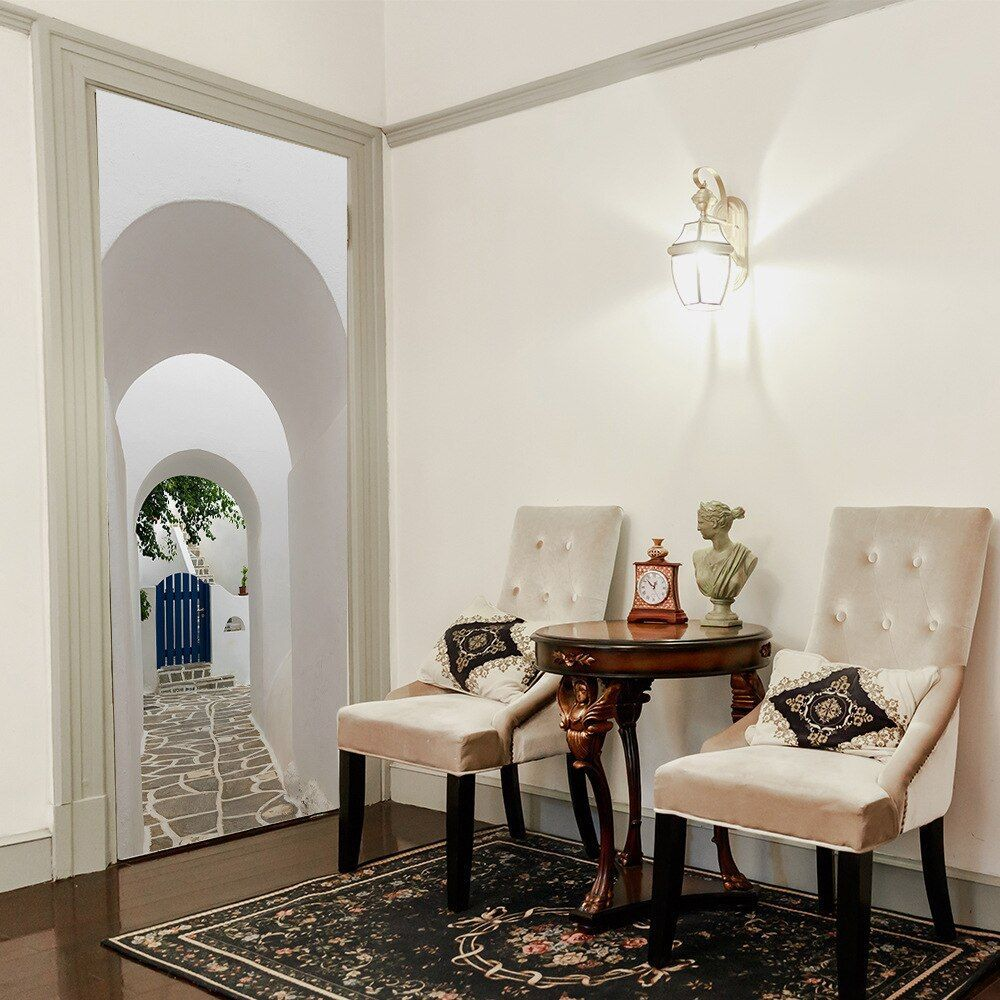 Solid White Wall Building House Corridor Retro Style 3d Decorative Home Decor Room Door Bedro