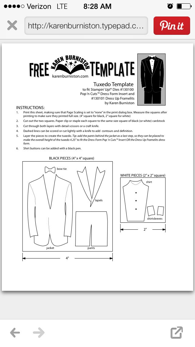 Tuxedo Template For Su Dress Up Cards Tuxedo Card Cards Card Making